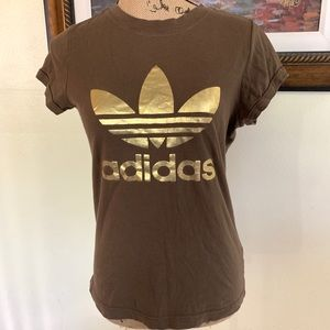 Adidas Brown Trefoil t-shirt with Gold Logo
